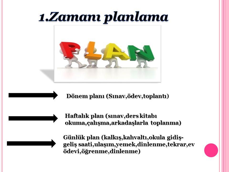 1.Zamanı planlama Dönem planı (Sınav,ödev,toplantı)