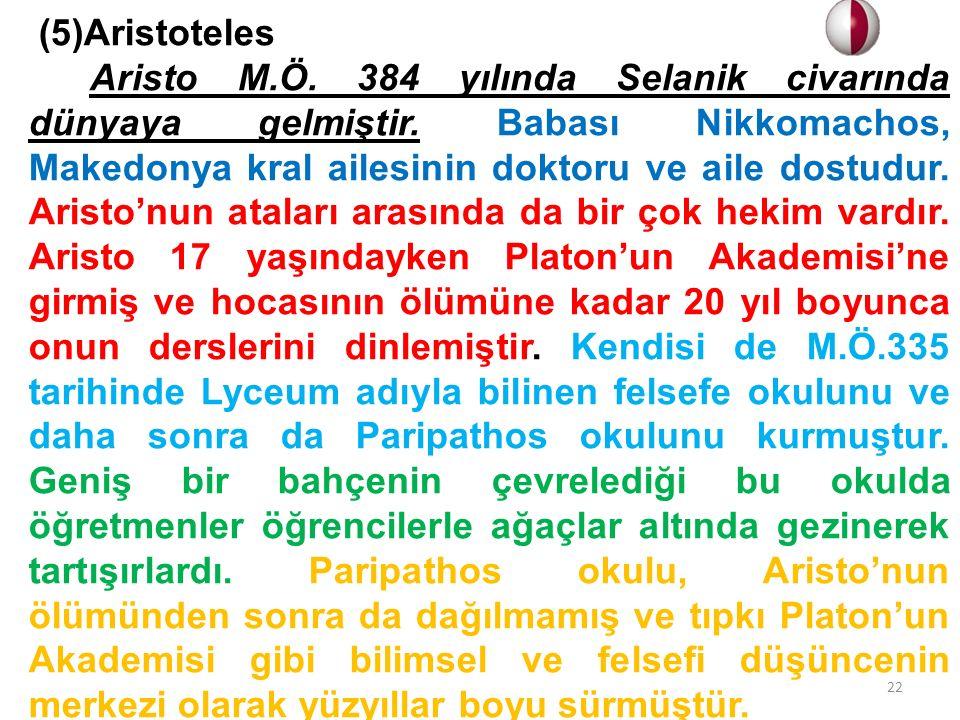 (5)Aristoteles.