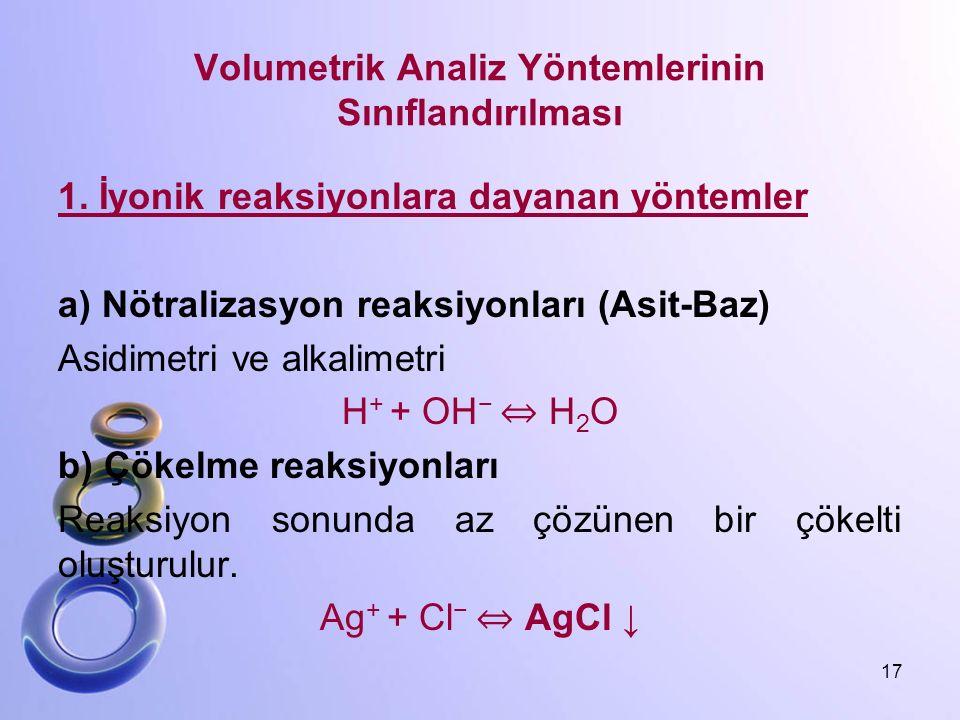 Volumetrik Analiz Yöntemlerinin Sınıflandırılması