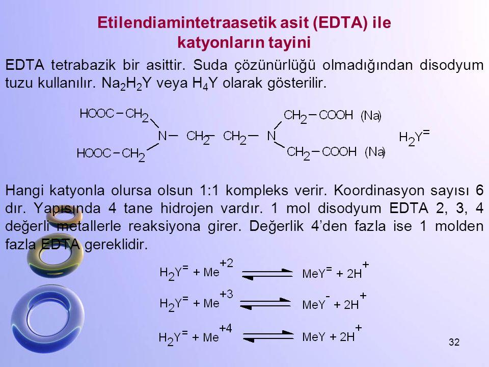 Etilendiamintetraasetik asit (EDTA) ile katyonların tayini