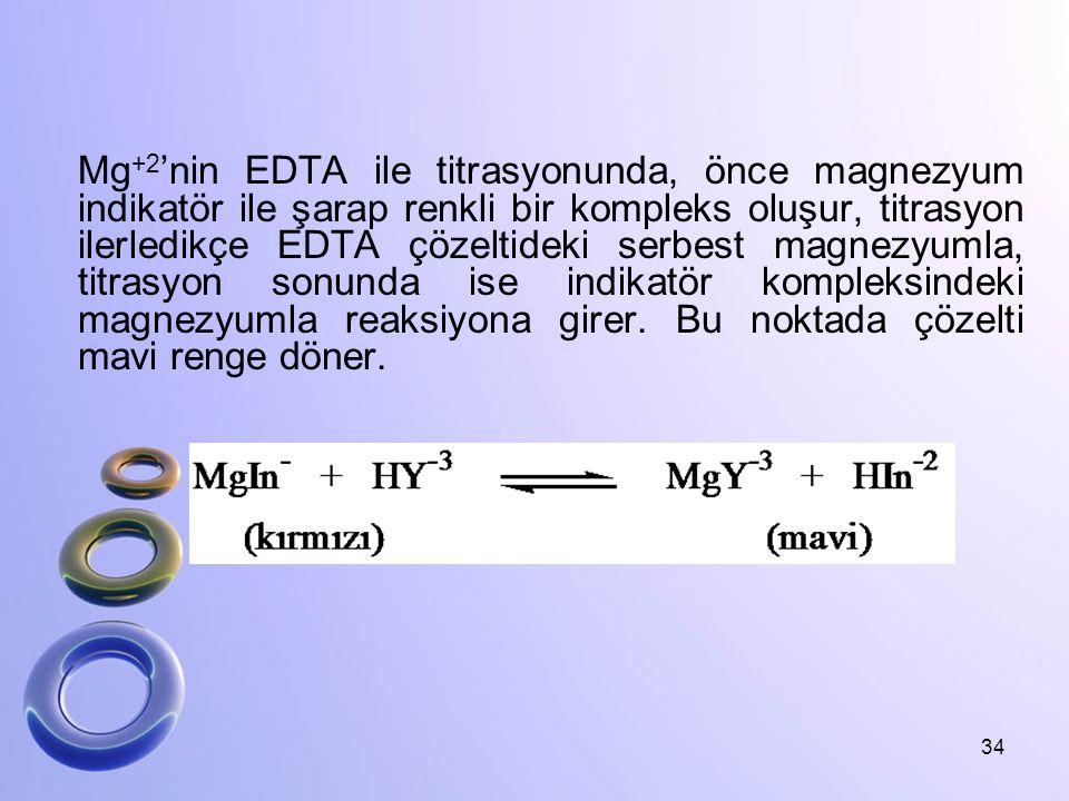 Mg+2'nin EDTA ile titrasyonunda, önce magnezyum indikatör ile şarap renkli bir kompleks oluşur, titrasyon ilerledikçe EDTA çözeltideki serbest magnezyumla, titrasyon sonunda ise indikatör kompleksindeki magnezyumla reaksiyona girer.