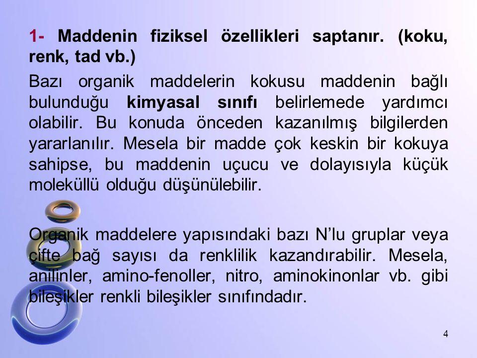 1- Maddenin fiziksel özellikleri saptanır. (koku, renk, tad vb