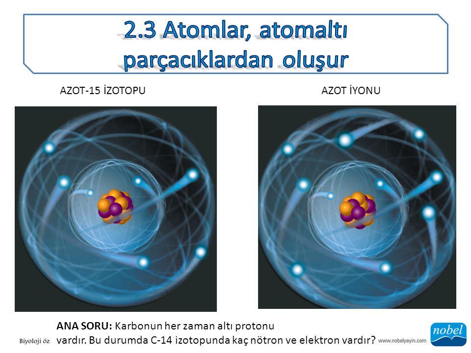 2.3 Atomlar, atomaltı parçacıklardan oluşur