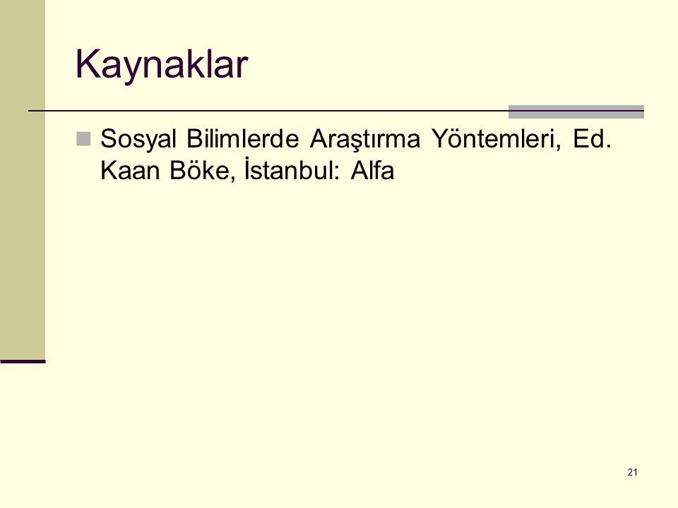 Kaynaklar Sosyal Bilimlerde Araştırma Yöntemleri, Ed. Kaan Böke, İstanbul: Alfa