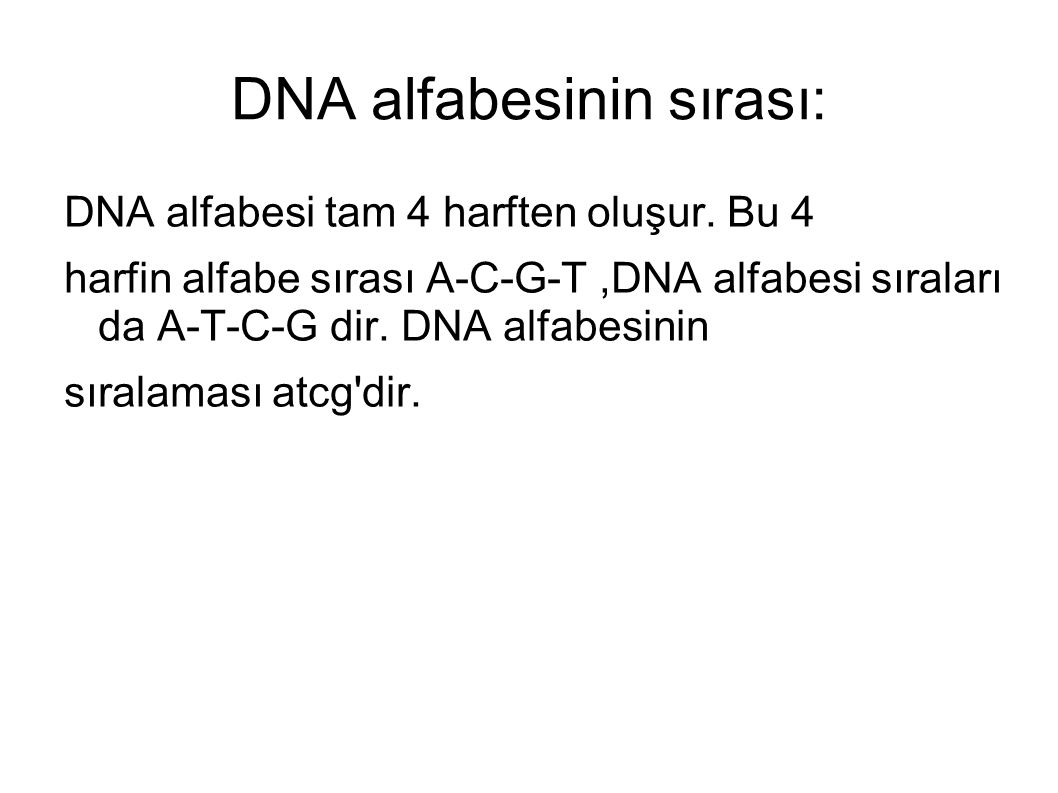 DNA alfabesinin sırası:
