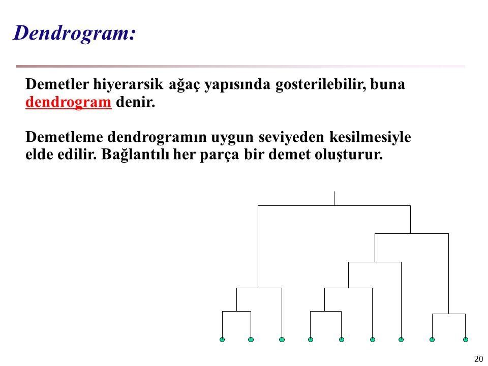 Dendrogram: Demetler hiyerarsik ağaç yapısında gosterilebilir, buna dendrogram denir.