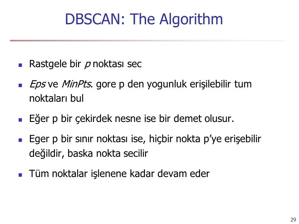 DBSCAN: The Algorithm Rastgele bir p noktası sec