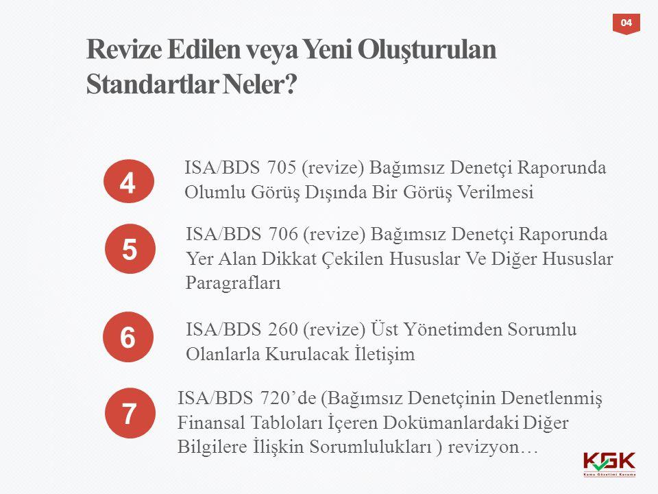 Revize Edilen veya Yeni Oluşturulan Standartlar Neler