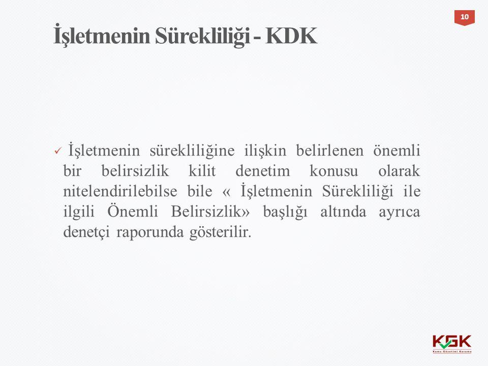 İşletmenin Sürekliliği - KDK