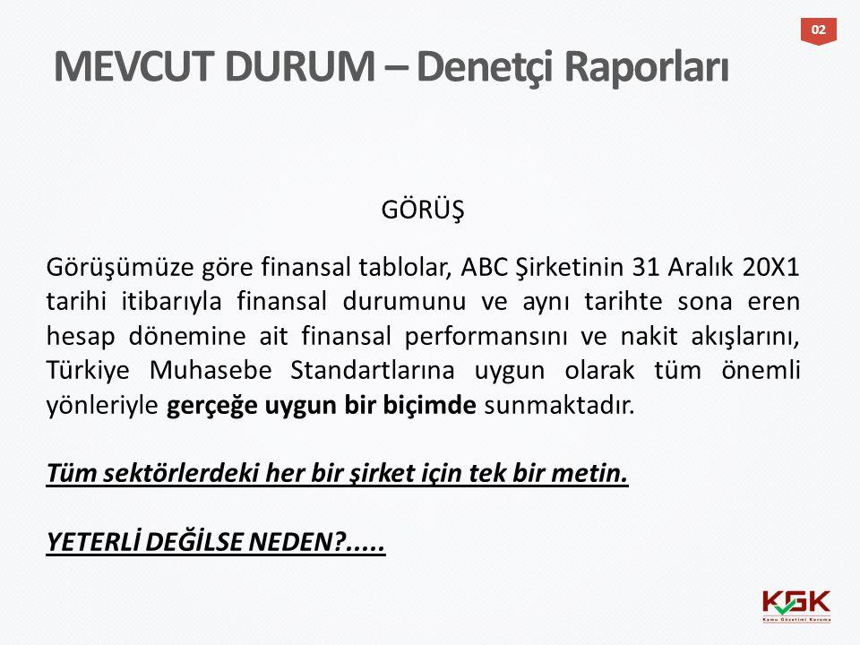 MEVCUT DURUM – Denetçi Raporları