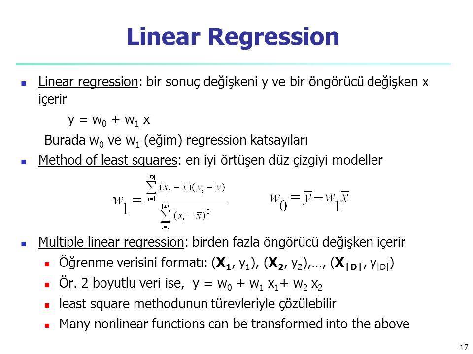 Linear Regression Linear regression: bir sonuç değişkeni y ve bir öngörücü değişken x içerir. y = w0 + w1 x.