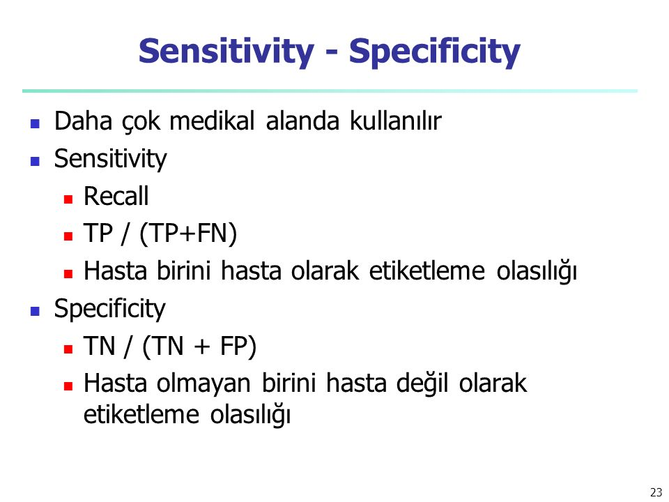 Sensitivity - Specificity
