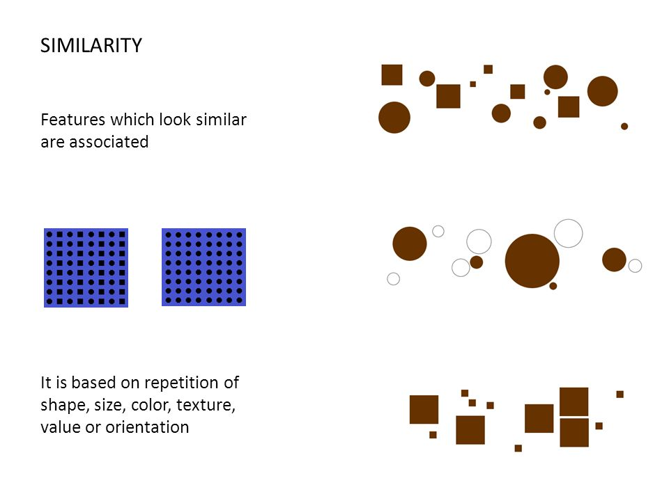 SIMILARITY Features which look similar are associated