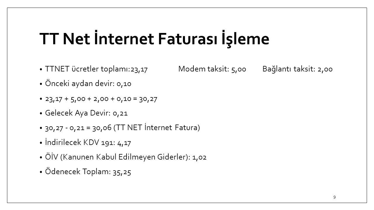 TT Net İnternet Faturası İşleme