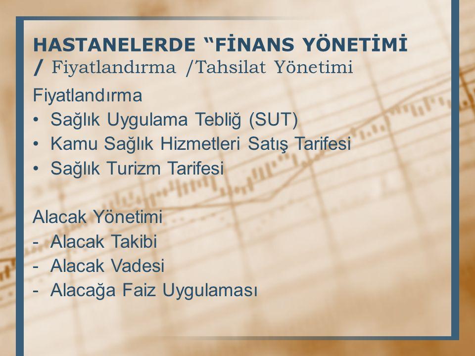 HASTANELERDE FİNANS YÖNETİMİ / Fiyatlandırma /Tahsilat Yönetimi