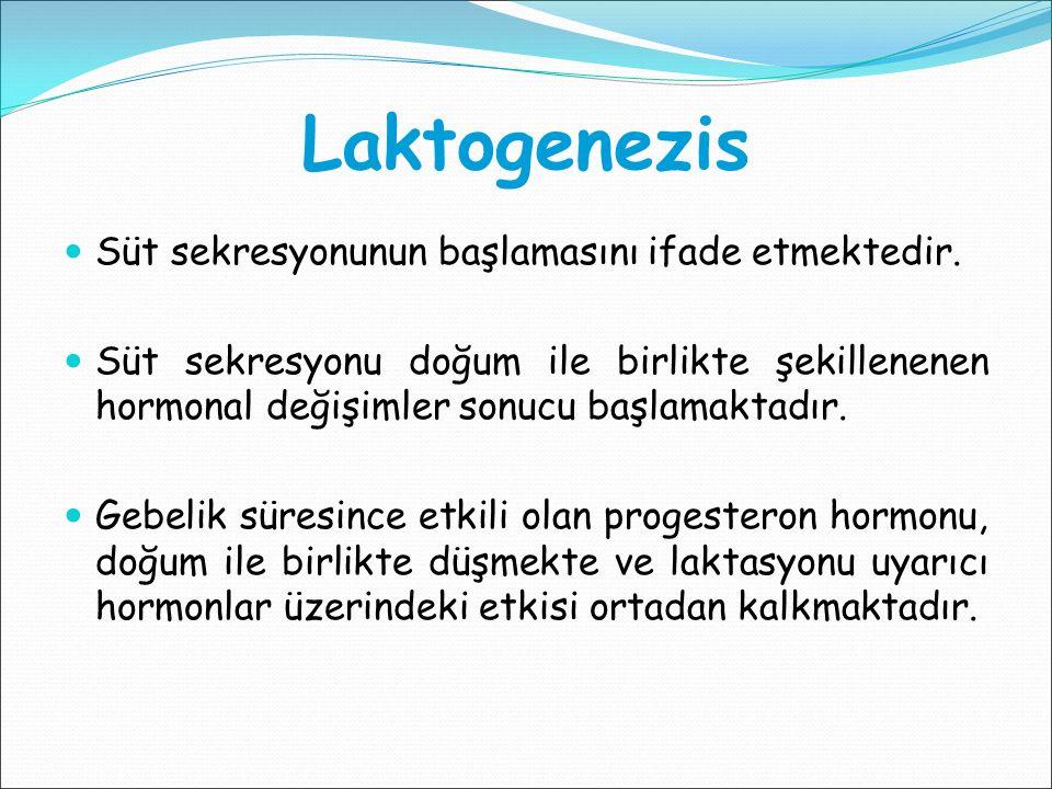 Laktogenezis Süt sekresyonunun başlamasını ifade etmektedir.