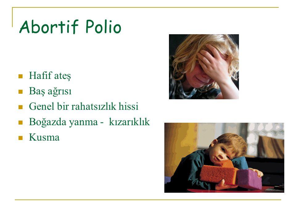 Abortif Polio Hafif ateş Baş ağrısı Genel bir rahatsızlık hissi
