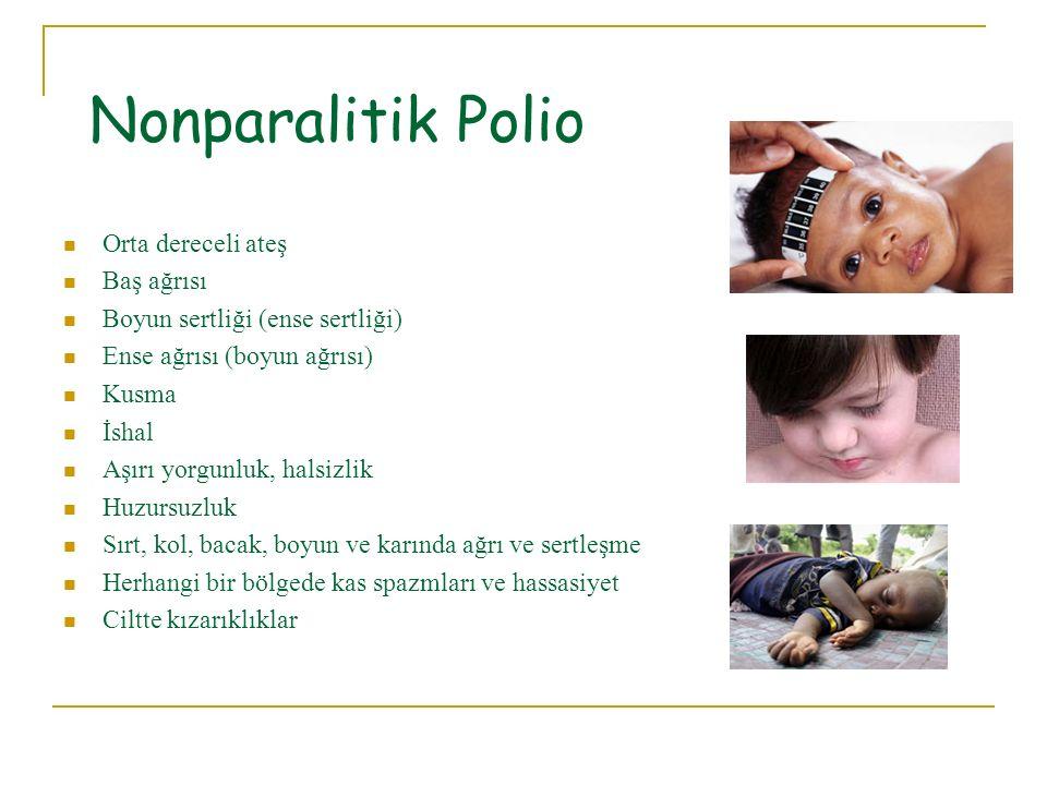 Nonparalitik Polio Orta dereceli ateş Baş ağrısı