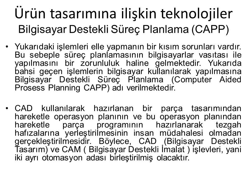 Ürün tasarımına ilişkin teknolojiler Bilgisayar Destekli Süreç Planlama (CAPP)