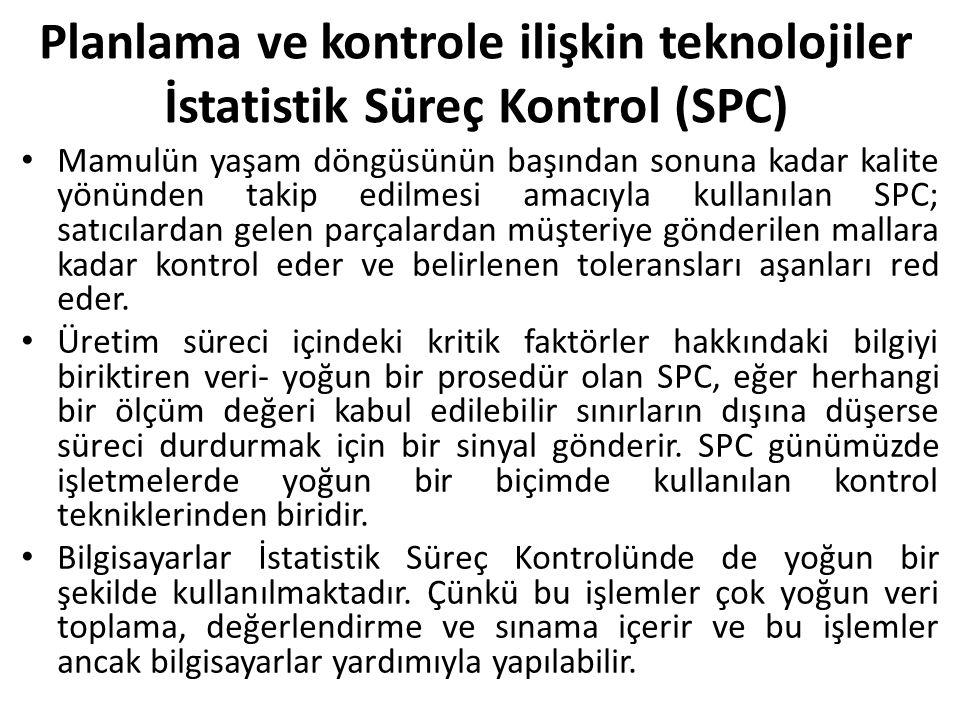Planlama ve kontrole ilişkin teknolojiler İstatistik Süreç Kontrol (SPC)