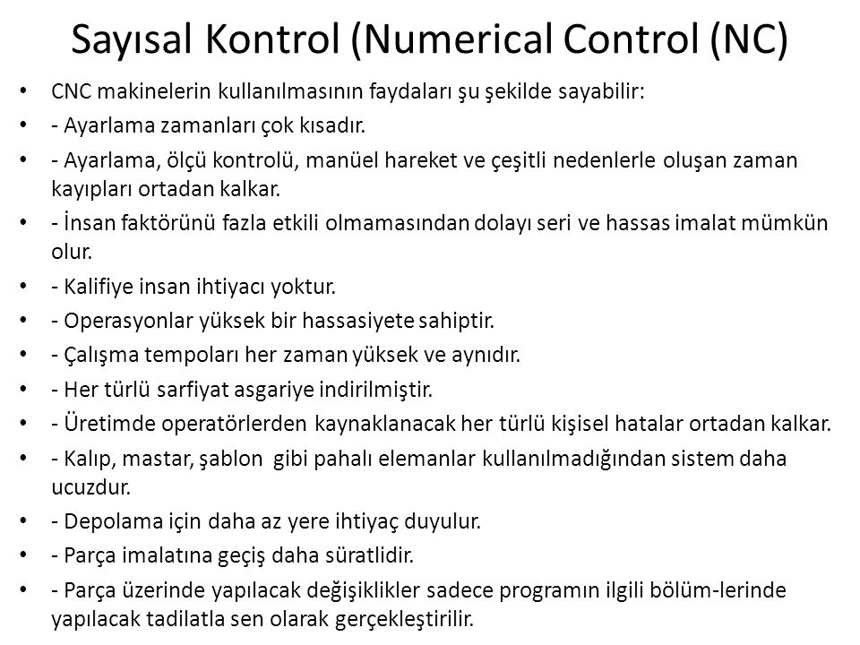 Sayısal Kontrol (Numerical Control (NC)