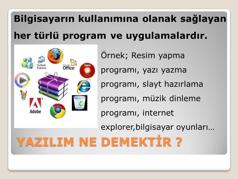 Bilgisayarın kullanımına olanak sağlayan her türlü program ve uygulamalardır.