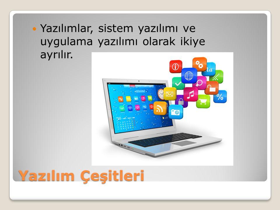 Yazılımlar, sistem yazılımı ve uygulama yazılımı olarak ikiye ayrılır.