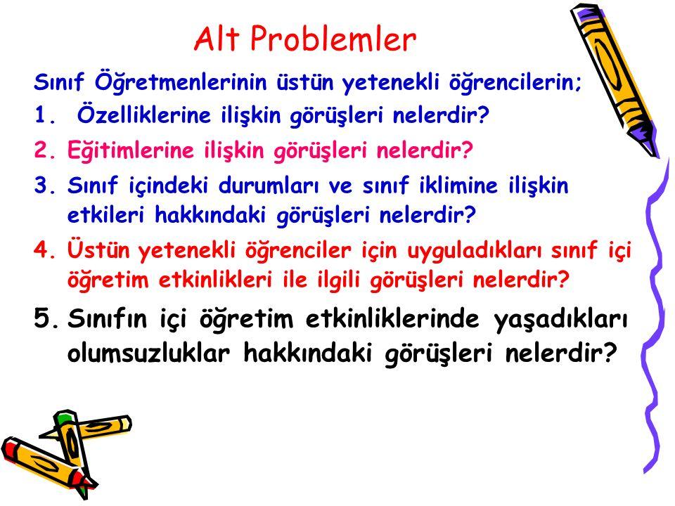 Alt Problemler Sınıf Öğretmenlerinin üstün yetenekli öğrencilerin; Özelliklerine ilişkin görüşleri nelerdir
