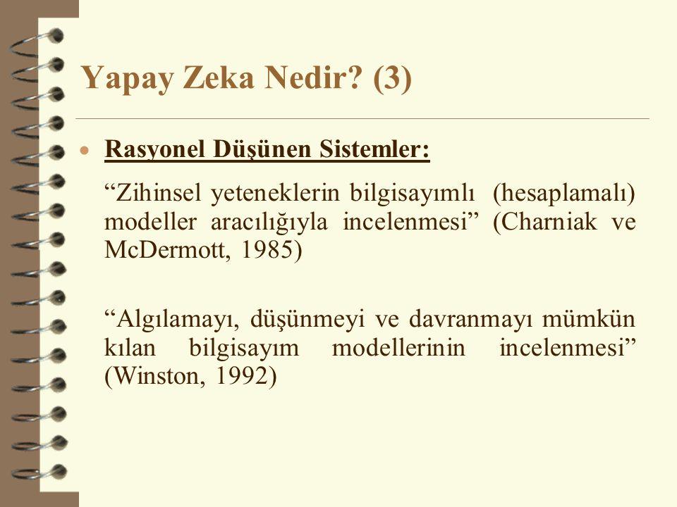 Yapay Zeka Nedir (3) Rasyonel Düşünen Sistemler: