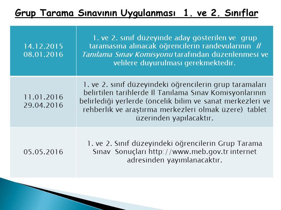 Grup Tarama Sınavının Uygulanması 1. ve 2. Sınıflar