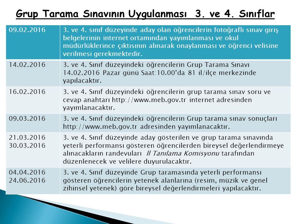 Grup Tarama Sınavının Uygulanması 3. ve 4. Sınıflar