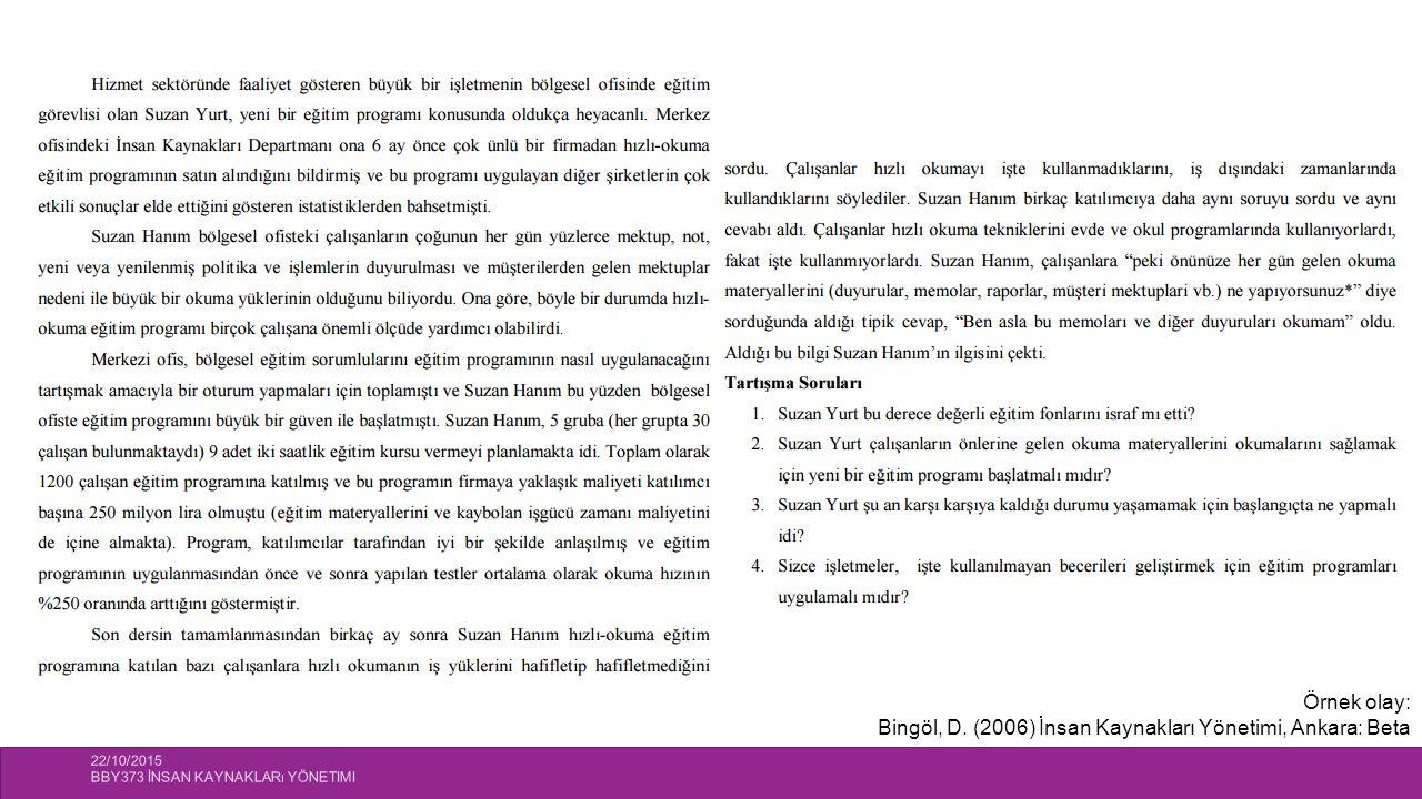 Bingöl, D. (2006) İnsan Kaynakları Yönetimi, Ankara: Beta