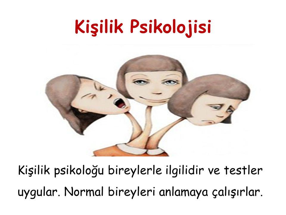 Kişilik Psikolojisi Kişilik psikoloğu bireylerle ilgilidir ve testler uygular.
