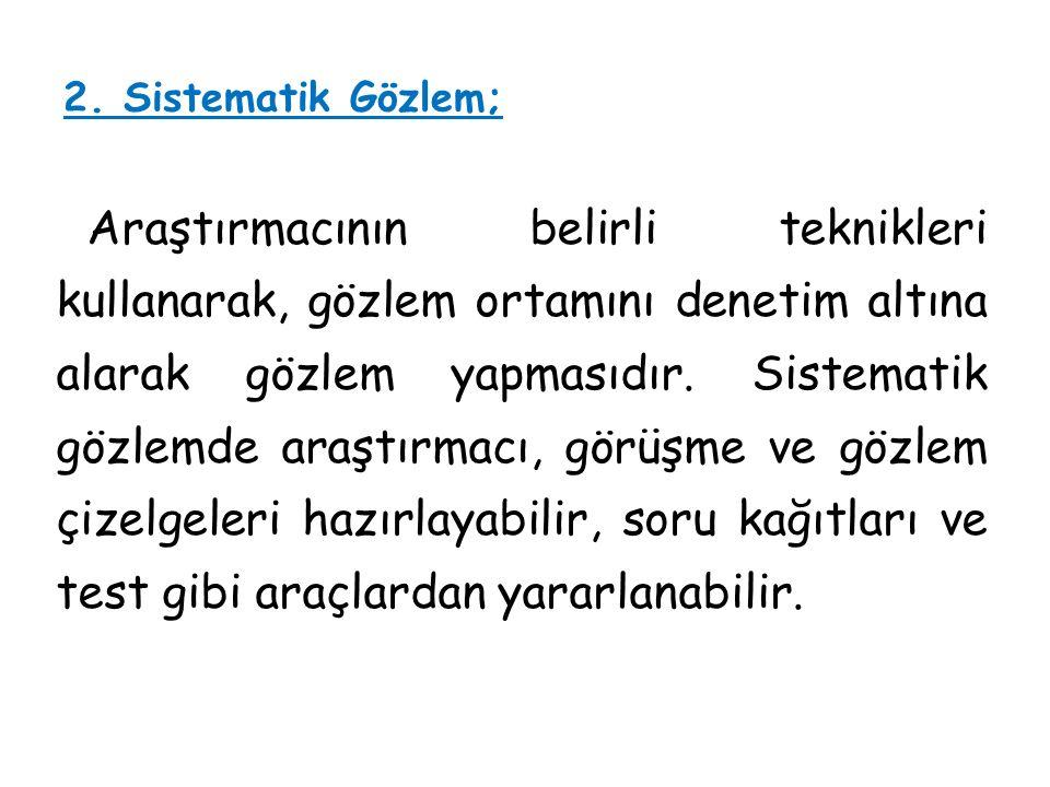 2. Sistematik Gözlem;