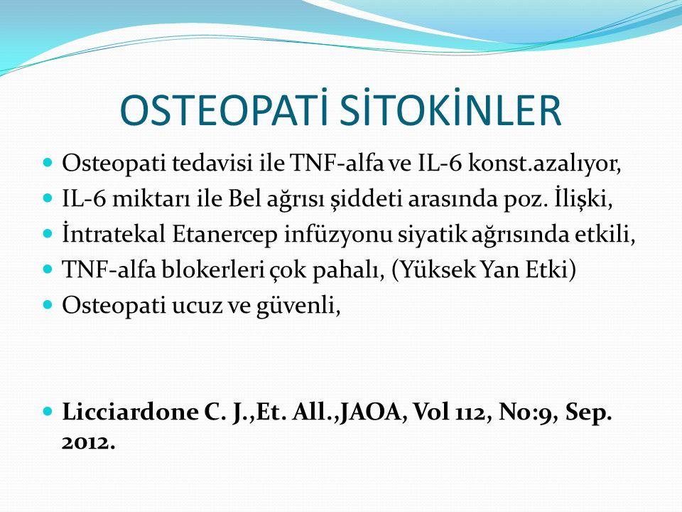 OSTEOPATİ SİTOKİNLER Osteopati tedavisi ile TNF-alfa ve IL-6 konst.azalıyor, IL-6 miktarı ile Bel ağrısı şiddeti arasında poz. İlişki,