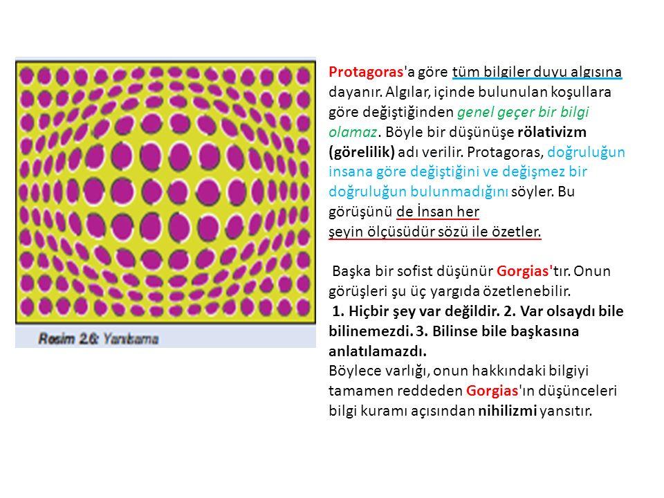 Protagoras a göre tüm bilgiler duyu algısına dayanır