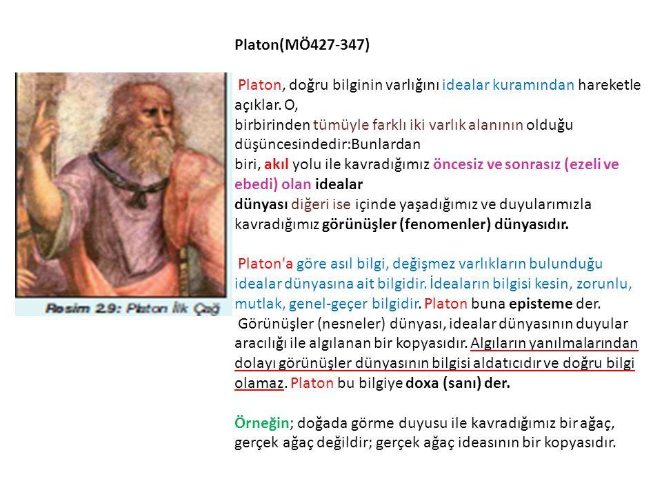Platon(MÖ427-347) Platon, doğru bilginin varlığını idealar kuramından hareketle açıklar.