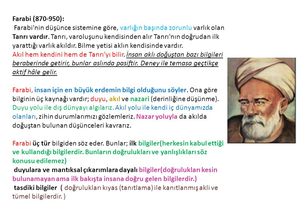 Farabi (870-950): Farabi nin düşünce sistemine göre, varlığın başında zorunlu varlık olan Tanrı vardır.