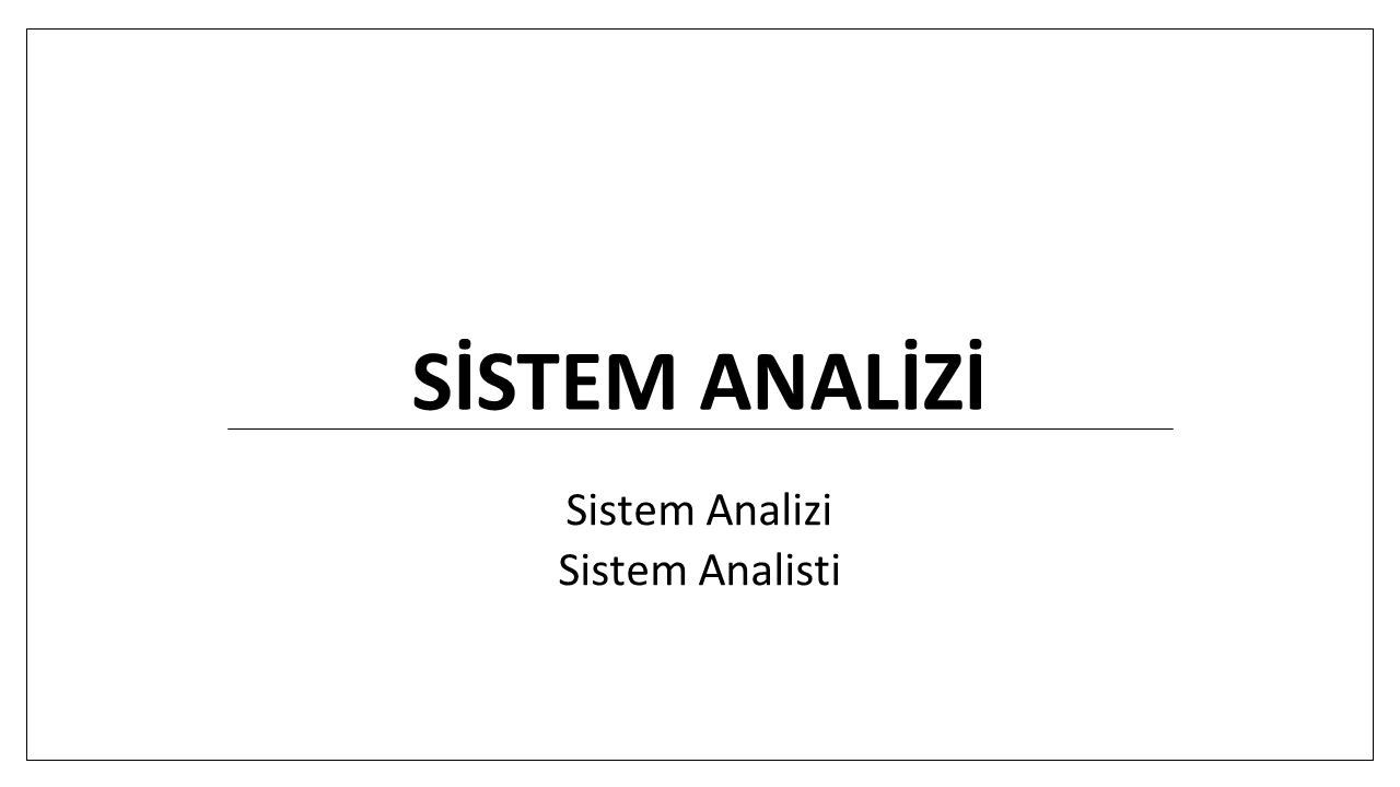 Sistem Analizi Sistem Analisti