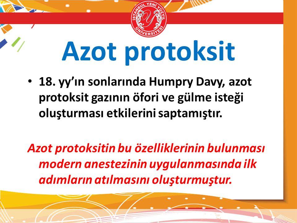 Azot protoksit 18. yy'ın sonlarında Humpry Davy, azot protoksit gazının öfori ve gülme isteği oluşturması etkilerini saptamıştır.