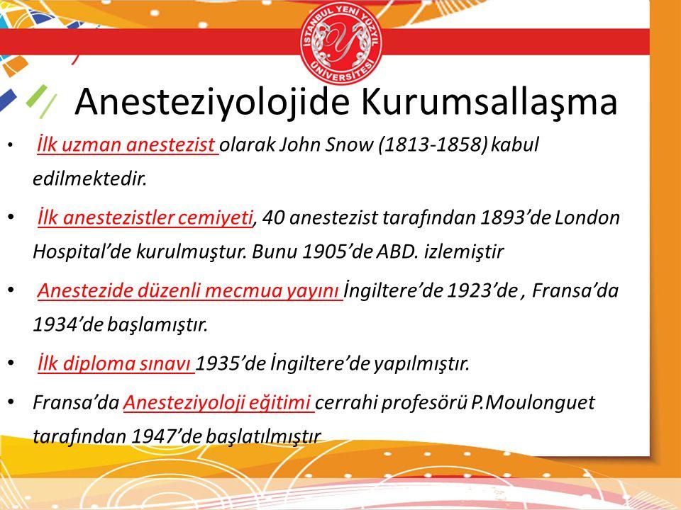 Anesteziyolojide Kurumsallaşma