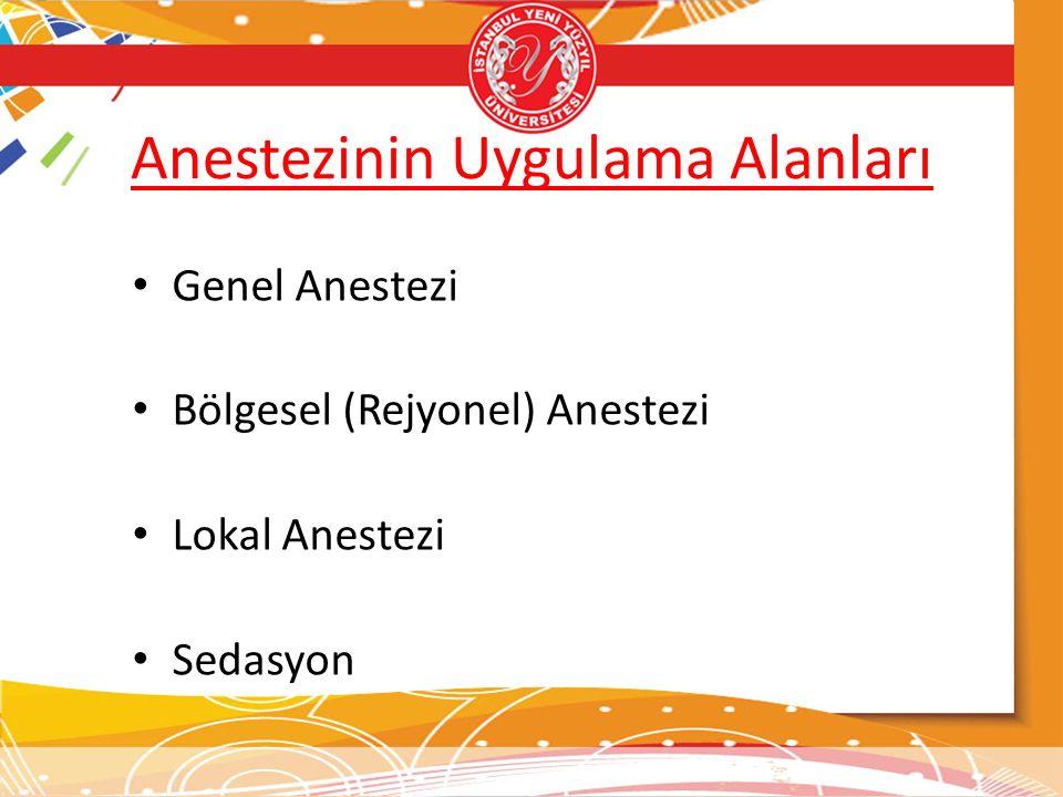 Anestezinin Uygulama Alanları