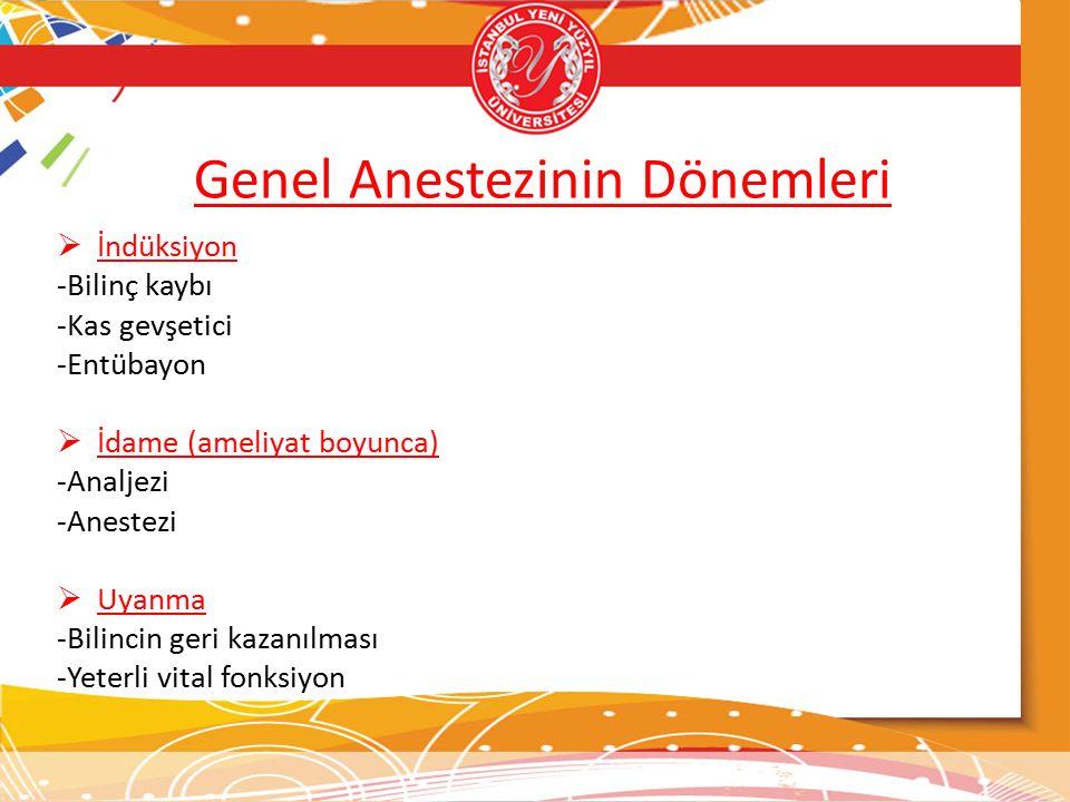 Genel Anestezinin Dönemleri
