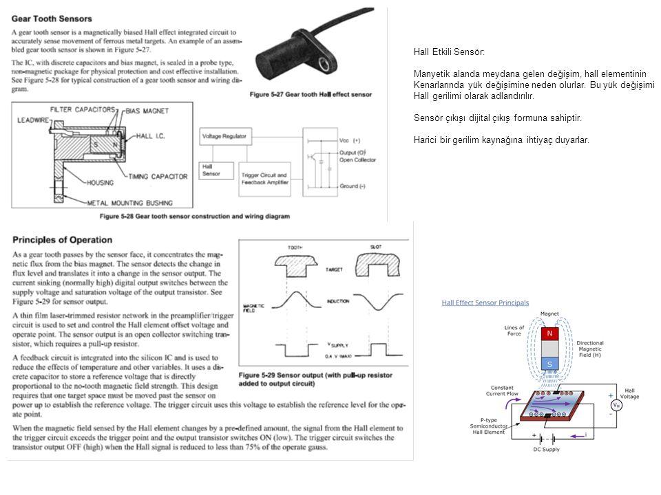 Hall Etkili Sensör: Manyetik alanda meydana gelen değişim, hall elementinin. Kenarlarında yük değişimine neden olurlar. Bu yük değişimi.