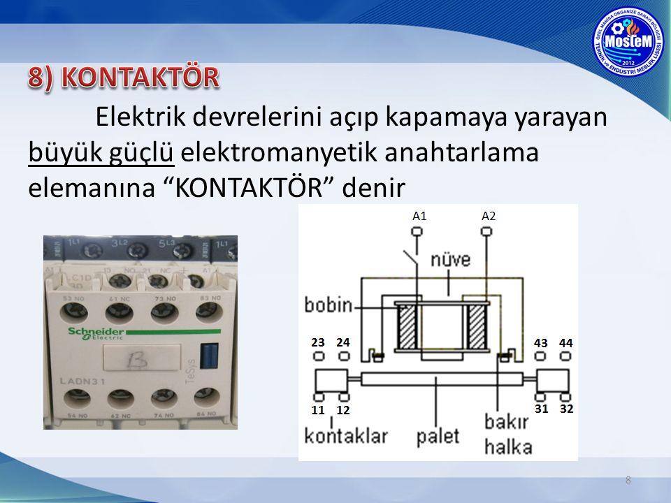 8) KONTAKTÖR Elektrik devrelerini açıp kapamaya yarayan büyük güçlü elektromanyetik anahtarlama elemanına KONTAKTÖR denir.