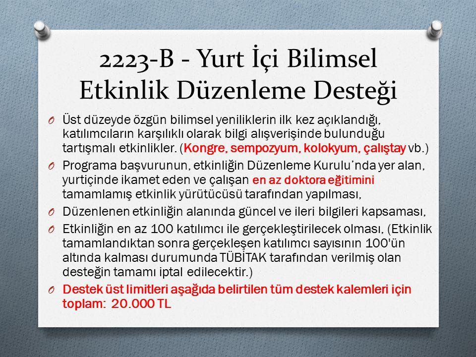 2223-B - Yurt İçi Bilimsel Etkinlik Düzenleme Desteği