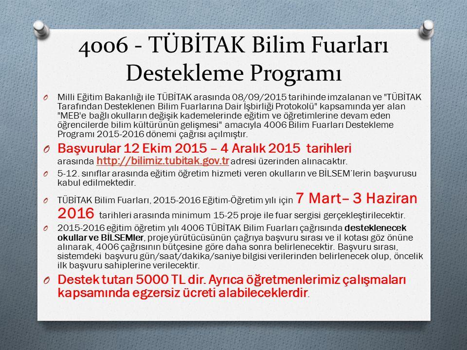 4006 - TÜBİTAK Bilim Fuarları Destekleme Programı