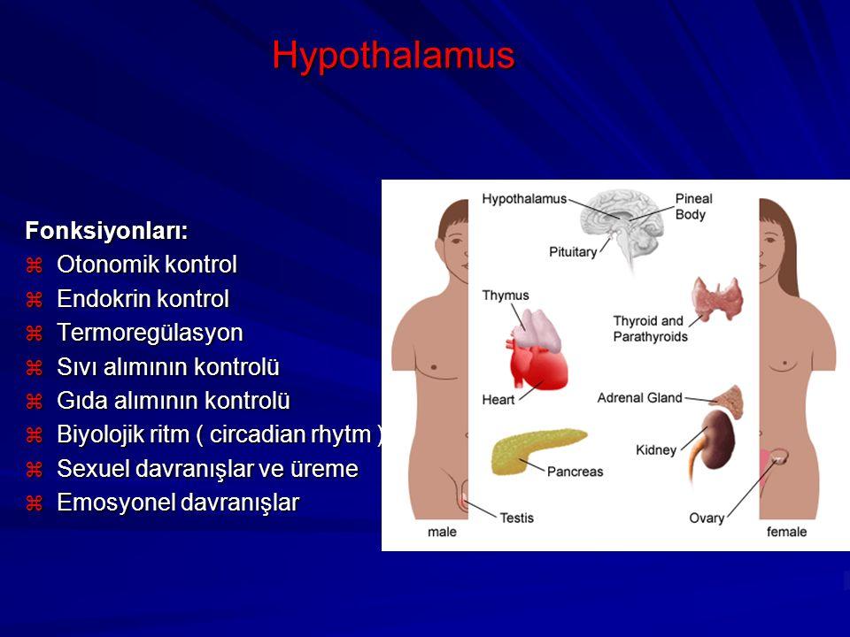 Hypothalamus Fonksiyonları: Otonomik kontrol Endokrin kontrol