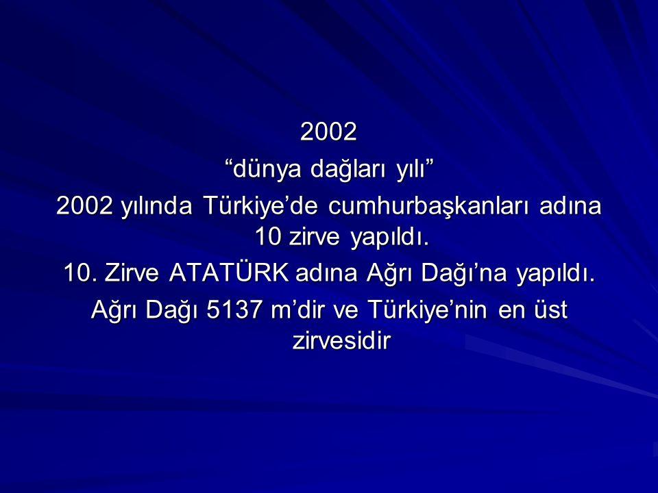 2002 yılında Türkiye'de cumhurbaşkanları adına 10 zirve yapıldı.