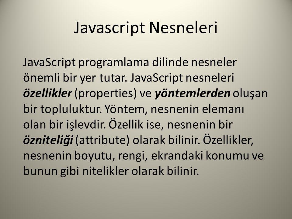 Javascript Nesneleri